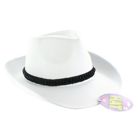 White Satin Fedora Adult Costume Hat With Black Ribbon - Walmart.com 0f3dd8fa10f
