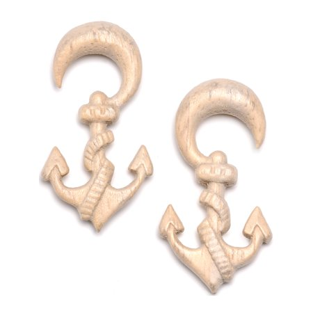Hand Carved Organic Plug - Body Candy Womens Ear Plug Gauges Organic Hand Carved Wood Nautical Anchor Hanger Plugs Stretched Ears 2G