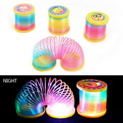 ZEDWELL Kids Magic Luminous Slinky Rainbow Spring Colorful Circle Coiled Elastic Ring Children Funny Classic Toy