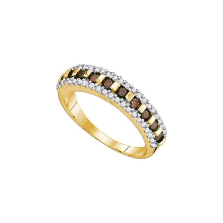 Orange Brown Bands (Size - 7 - Solid 10k Yellow Gold Round Chocolate Brown And White Diamond Channel Set Wedding Band OR Fashion Ring (1/2 cttw))