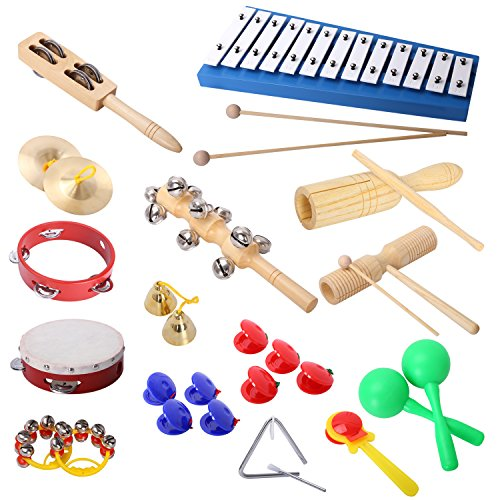 Percussion Set Cahaya musical instruments and Enlighten Toys Kit Tambourine Bells Maracas... by