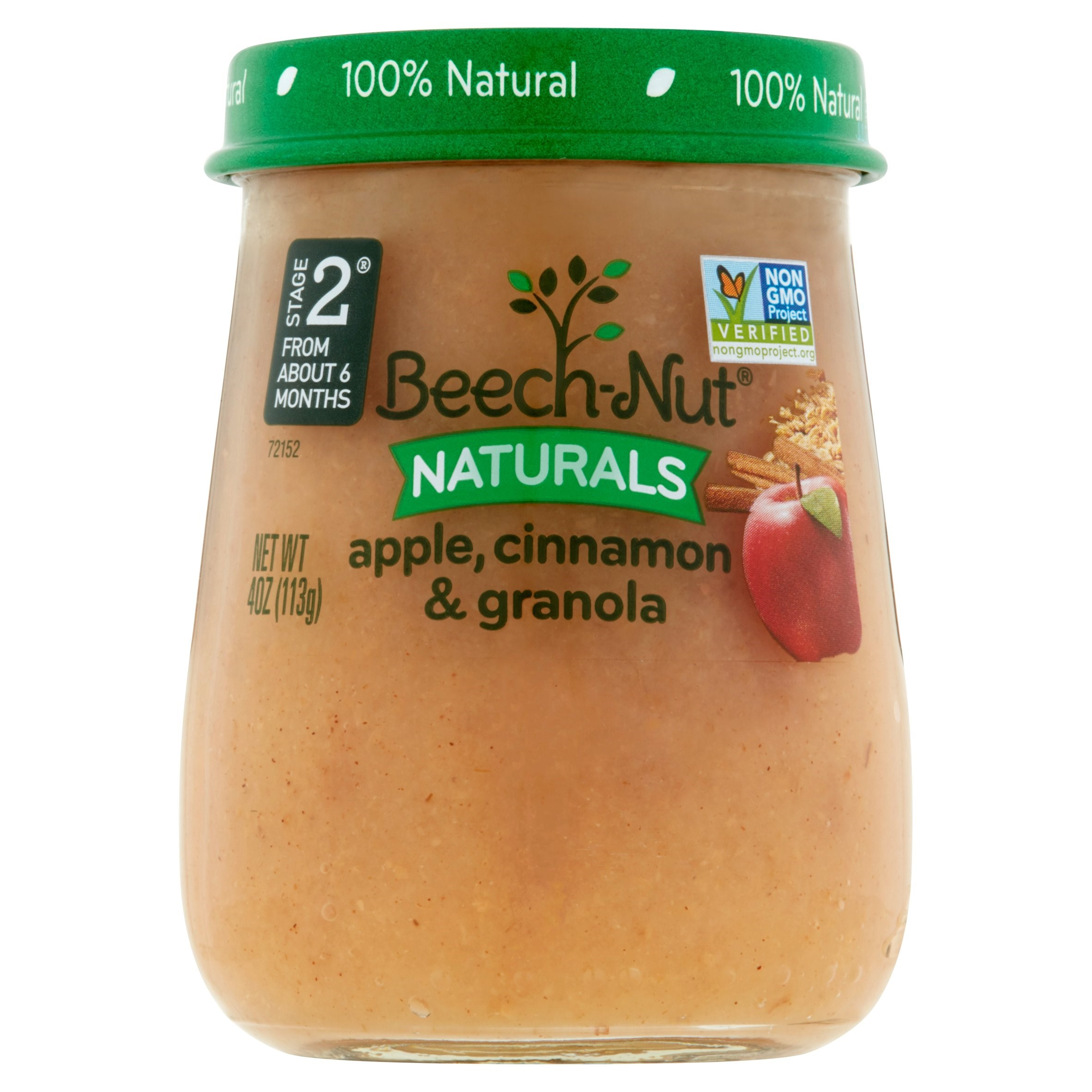 Beech-Nut Naturals Apple, Cinnamon & Granola Baby Food Stage 2 From About 6 Months, 4 oz, 10 pack