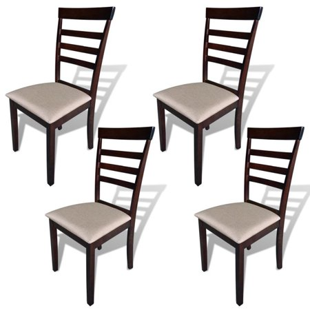 GHP 4-Pcs Brown & Cream Rubberwood Frame MDF & Fabric Upholstery Dining Chairs