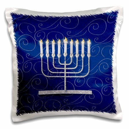 3dRose Silver Faux Glitter Menorah Festival of Lights Hanukkah on Blue - Pillow Case, 16 by 16-inch](Hanukkah Decor)