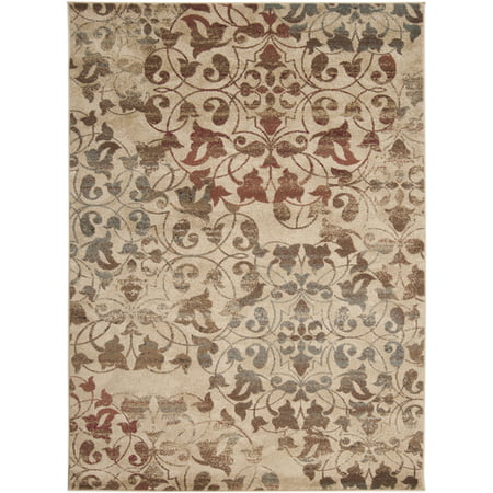 2' x 3.25' Rustic Leaves Tan, Red and Brown Shed-Free Area Throw Rug (Brown Leaf Area Rug)