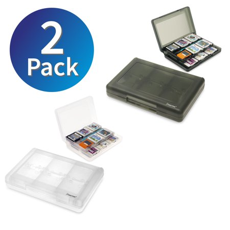 Insten 2 packs 24-in-1 Game Card Cases For Nintendo 3DS / 3DS XL LL (White & Smoke) ()