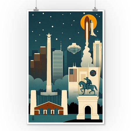 Houston, Texas - Retro Skyline (no text) - Lantern Press Artwork (9x12 Art Print, Wall Decor Travel Poster)