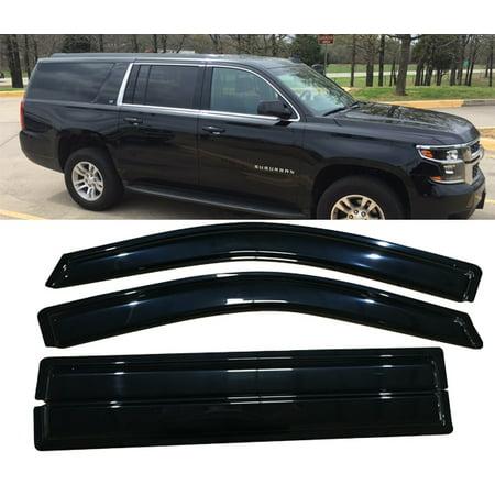 All American Auto Dark Smoke Acrylic Side Window Deflector/Visor 4-Piece Set for 2015-2018 Cadillac Escalade ESV & Chevy Suburban 2500 1500 & GMC Yukon