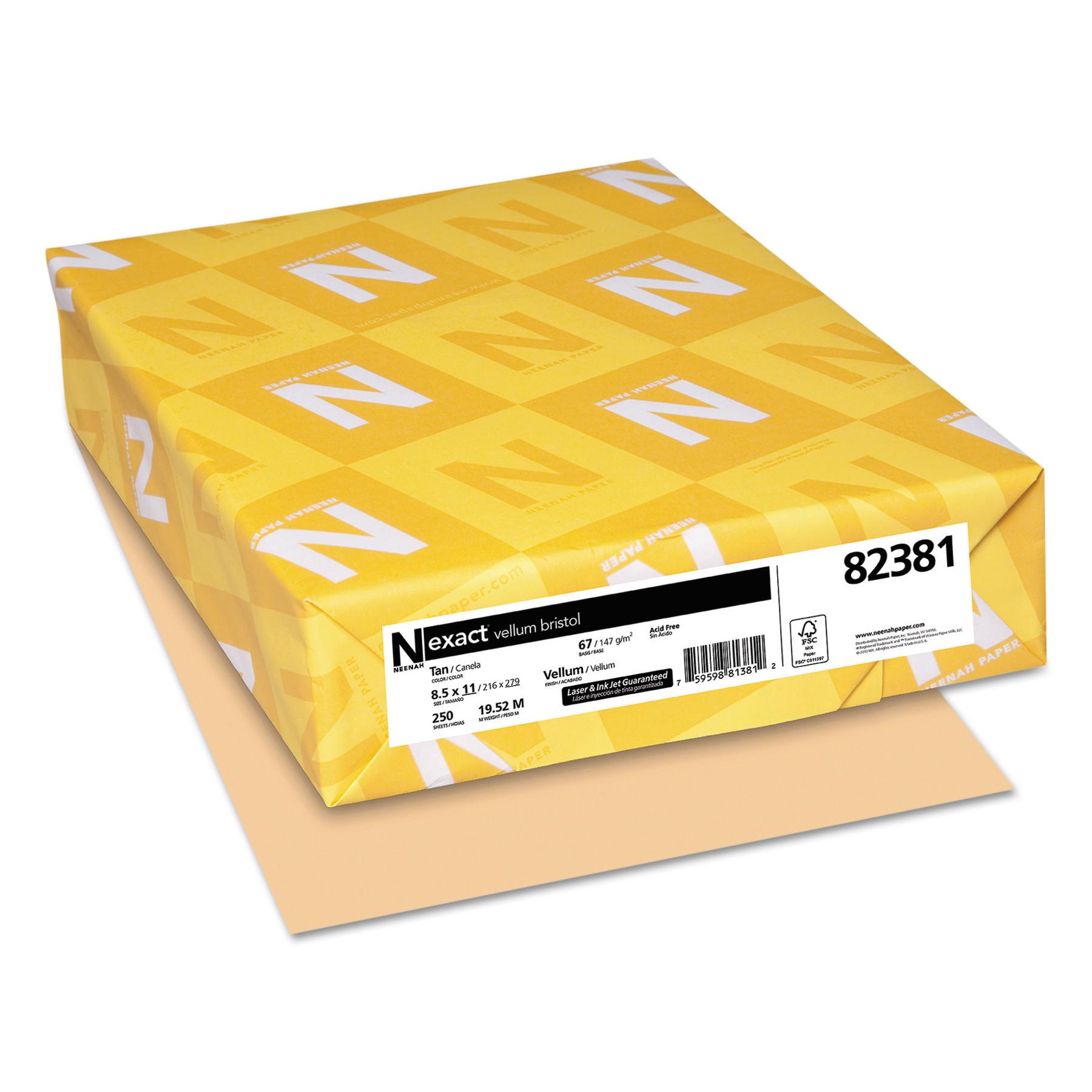 Neenah Paper Exact Vellum Bristol Cover Stock, 67lb, 8 1/2 x 11, Tan, 250 Sheets -WAU82381