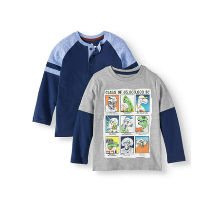 365 Kids from Garanimals Long Sleeve Raglan Taped Henley & Graphic Hangdown T-Shirt, 2-Pack (Little Boys & Big Boys)