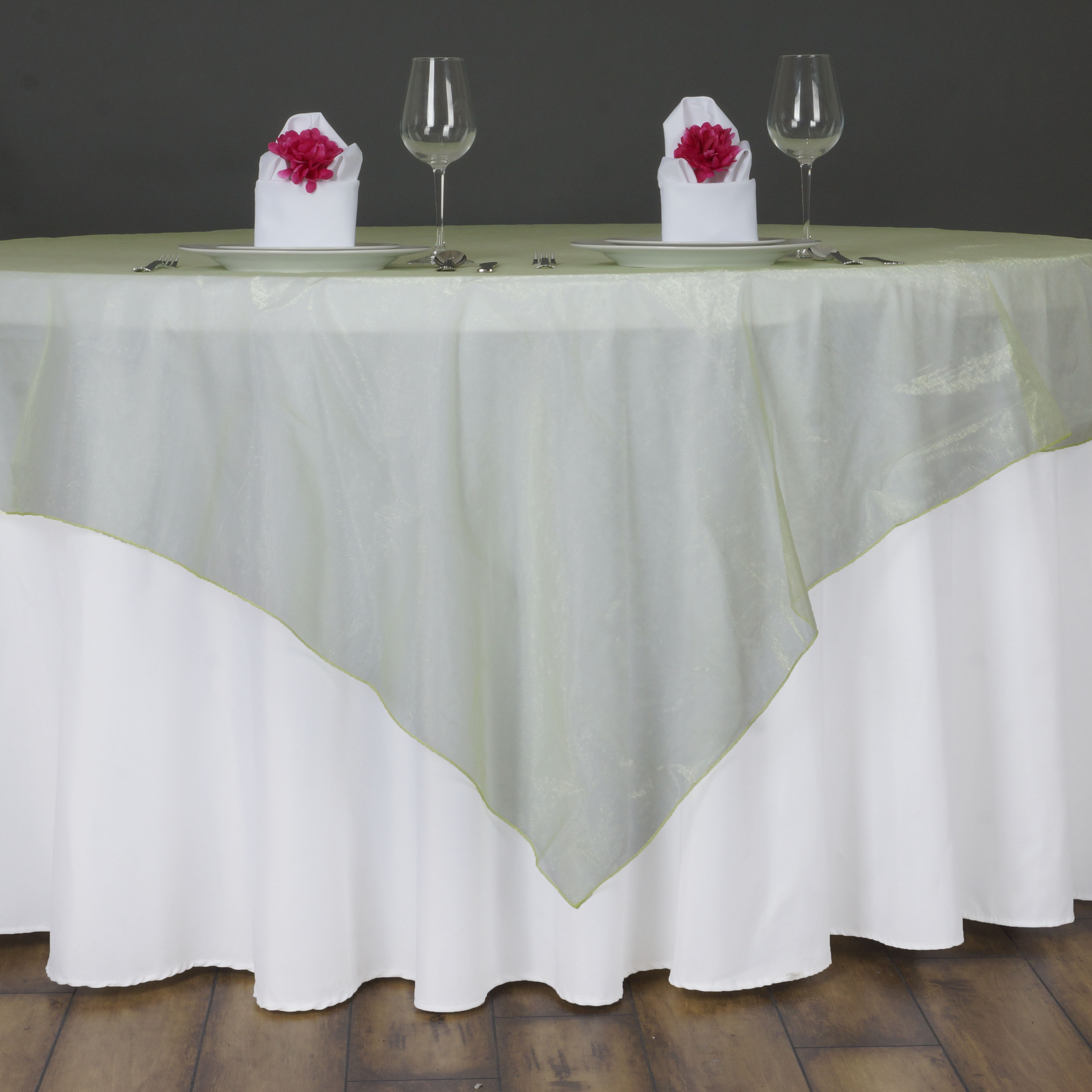 "BalsaCircle 72"" x 72"" Sheer Organza Table Overlays - Wedding Party Reception Catering Linens Dinner Banquet Event Decorations"