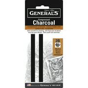 General Pencil Compressed Charcoal Set, 2B, Hard, 2/Pkg.