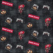 Ohio State Buckeyes Flannel Fabric with Distressed Ground and logo and mascot print-100% cotton-Sold by the Yard