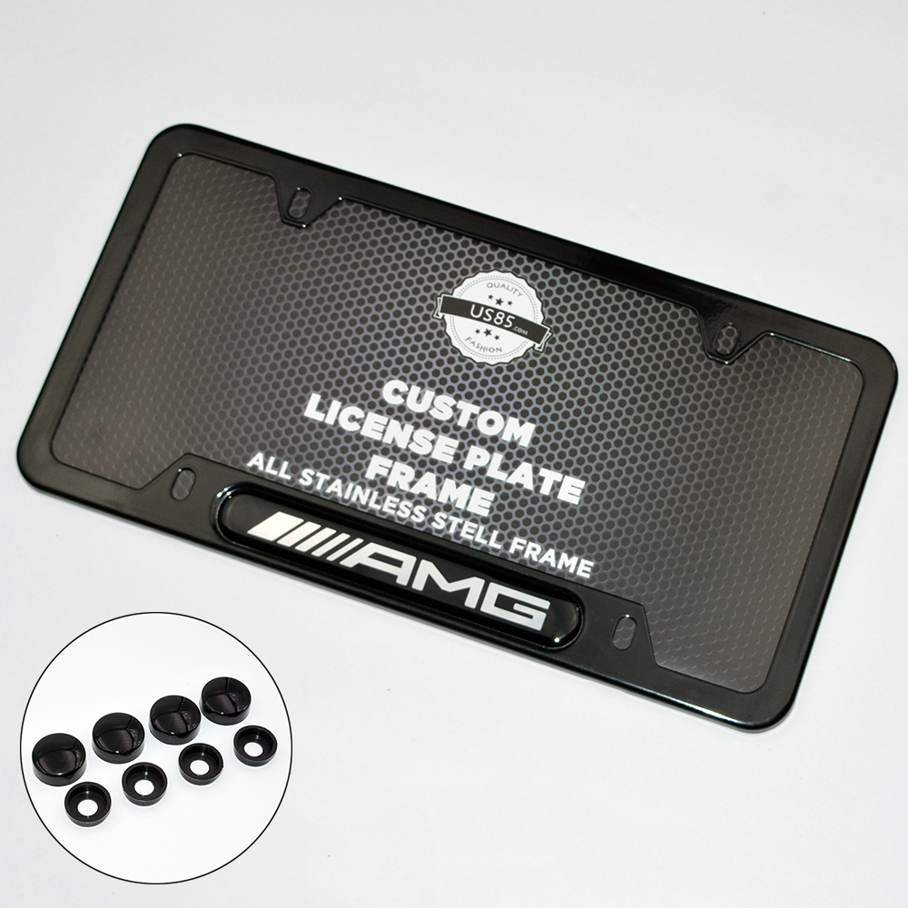 Black Stainless Steel Front Rear For Mercedes Benz AMG Emblem License Plate  Frame Cover Holder