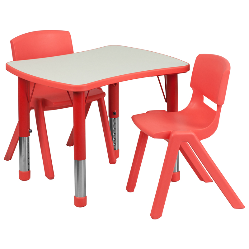 Flash Furniture 21.875W x 26.625L Adjustable Rectangular Red Plastic Activity Table Set with 2 School Stack Chairs Electronics Computer Accessories YU-YCY-098-0032-RECT-TBL-RED-GG