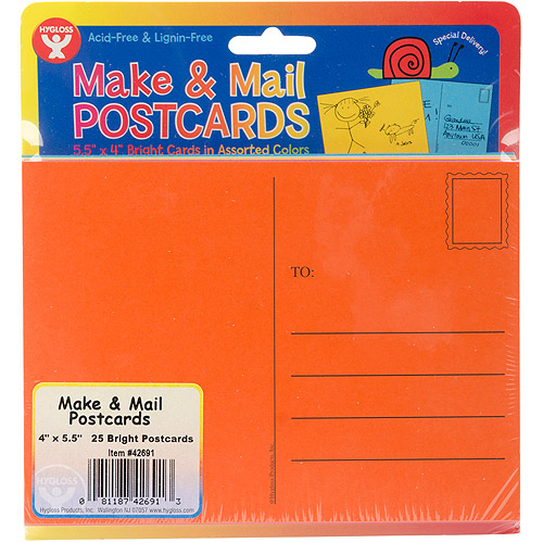"""Hygloss Mighty Bright Make & Mail Postcards, 4"""" x 5-1/2"""", 25/pkg, Assorted Colors"""