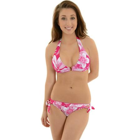 Leilani Women's Swimsuit 2 Piece Pink Tropical Print Halter Bikini (Leilani Halter Bikini)