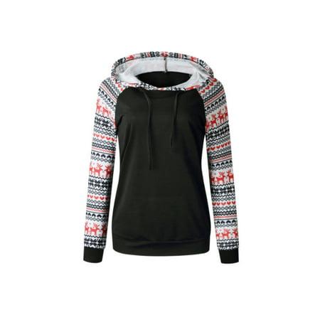 Women Christmas Deer Sweatshirt Hoodie Ladies Hooded Jumper Coat Pullover