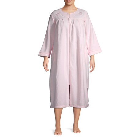 Plus Ribbed Zip Long Nightgown