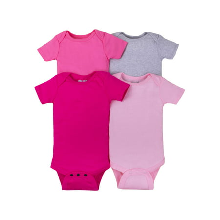 Short Sleeve Solid Bodysuits, 4-pack (Baby GIRLS) (Girl Custom Made Baby Onesie)