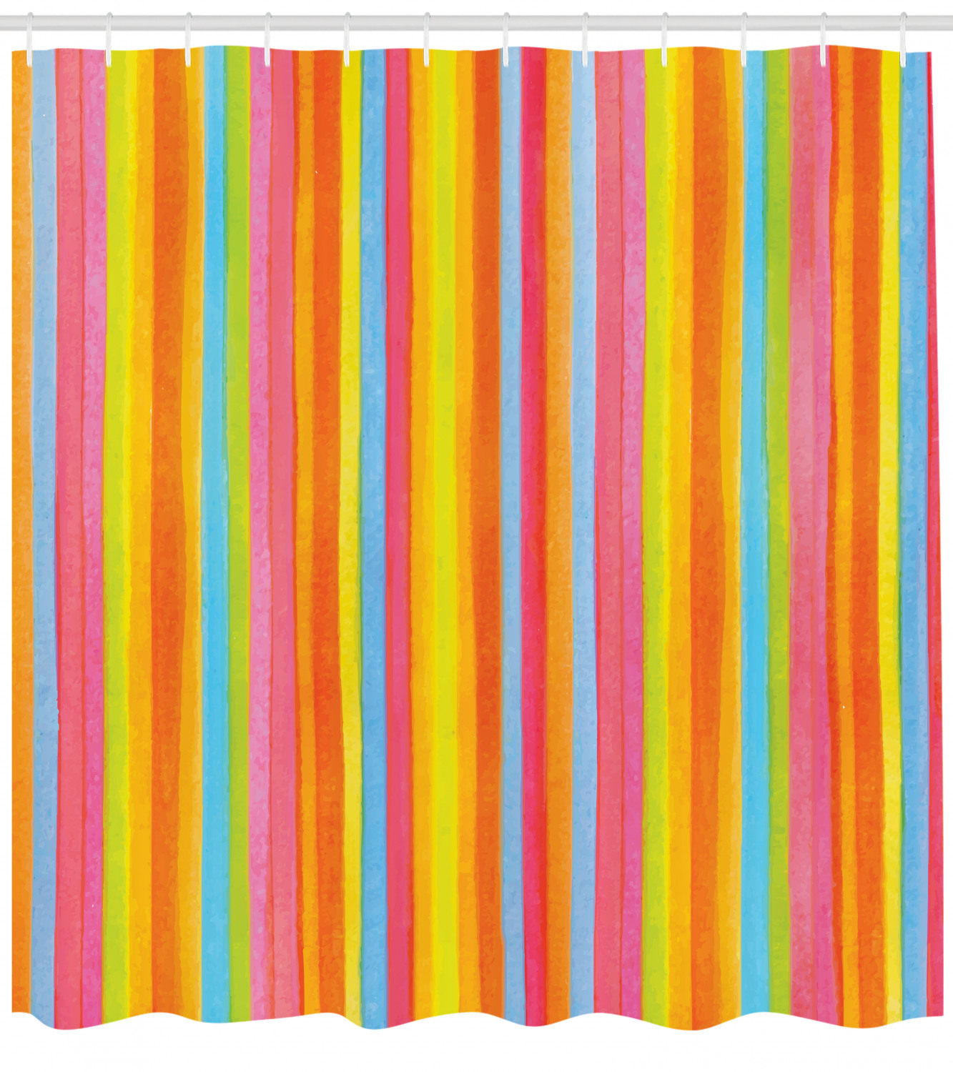 Striped Shower Curtain Vertical Stripes In Lively Rainbow Colors And Modern Aquarelle Design Geometric Fabric Bathroom Set With Hooks 69w X 75l