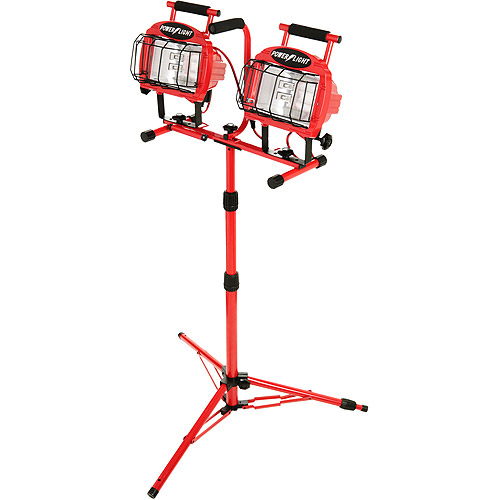 Designers Edge 1200W Halogen Twin Head Tripod Work Light with Weatherproof Switches, 7' Cord, Red
