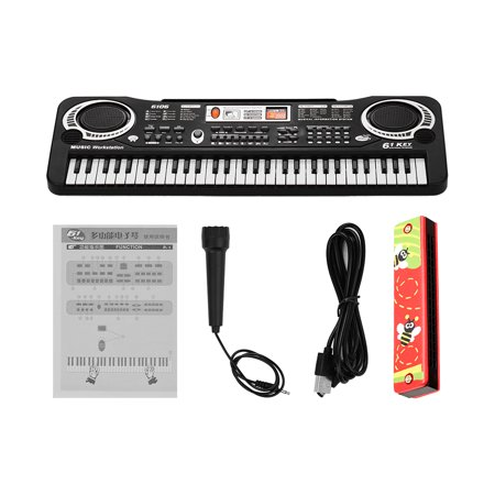 61 Keys Electronic Digital Piano Keyboard with Dual Speakers Microphone USB/Battery Powered + Tremolo Harmonica 16 Holes Kids Musical Instrument Educational Toy Wooden Cover Colorful Free Reed Wind In - image 7 of 7