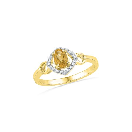 FB Jewels 10kt Yellow Gold Womens Oval Lab-Created Citrine Solitaire Diamond Ring 1/2 Cttw