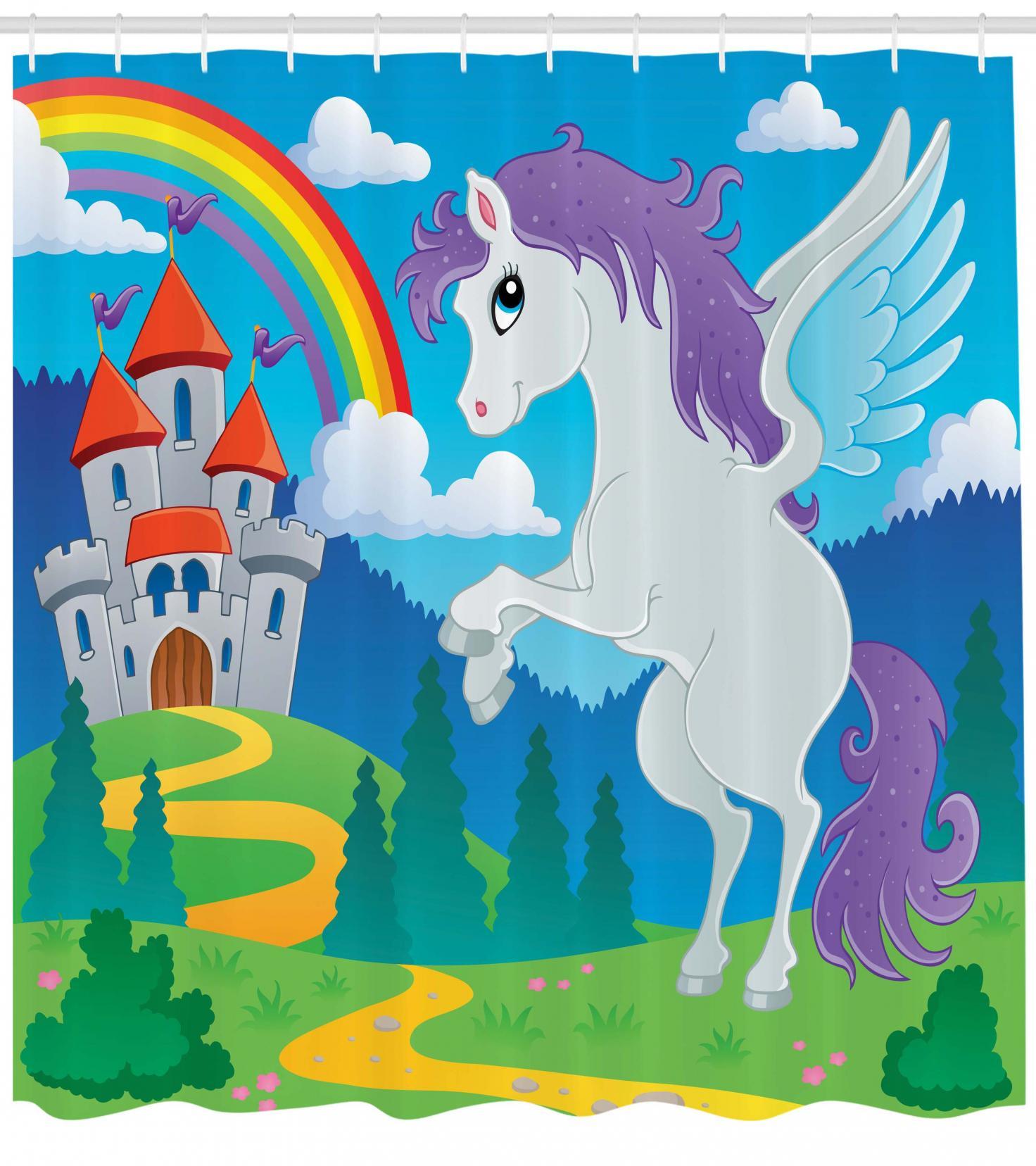 Fantasy Shower Curtain Fairy Medieval Castle Print for Bathroom
