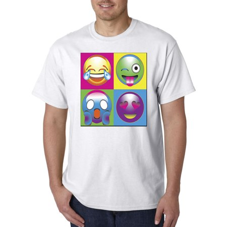 New Way 341   Unisex T Shirt Emoji Faces Boxed Multi Color Lol Shocked Love