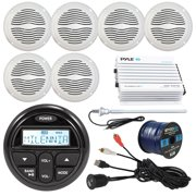 "Milenna PRV17 Marine Gauge Style AM/FM Radio Stereo Receiver Bundle Combo With 6x Magnadyne 5"" Speaker, 400 Watt Bluetooth Amplifier, Enrock USB/AUX To RCA Cable, 45"" Radio Antenna, 50 Ft Wire"