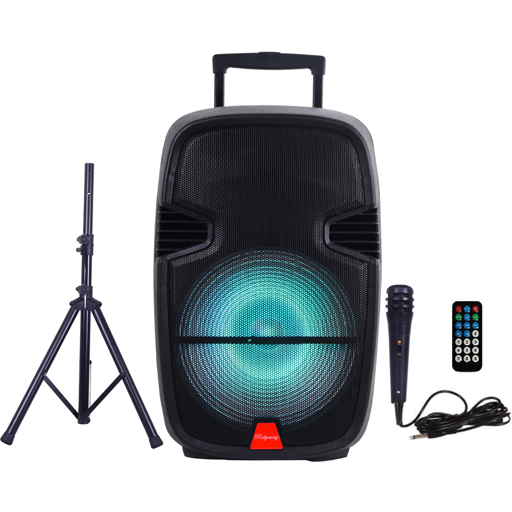 "Ridgeway QS-2715BS Pro 15"" Party DJ Karaoke Portable BT PA Speaker with STAND Battery LED Lights MIC Remote USB SD FM AUX"