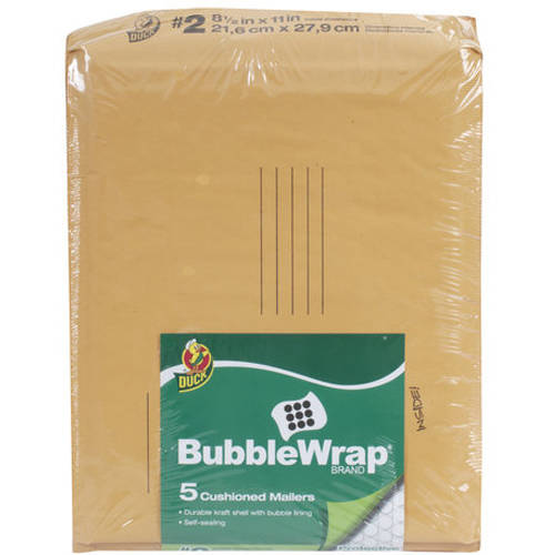 "Duck Brand 5pk 8.5"" x 11"" Kraft Bubble Mailer"