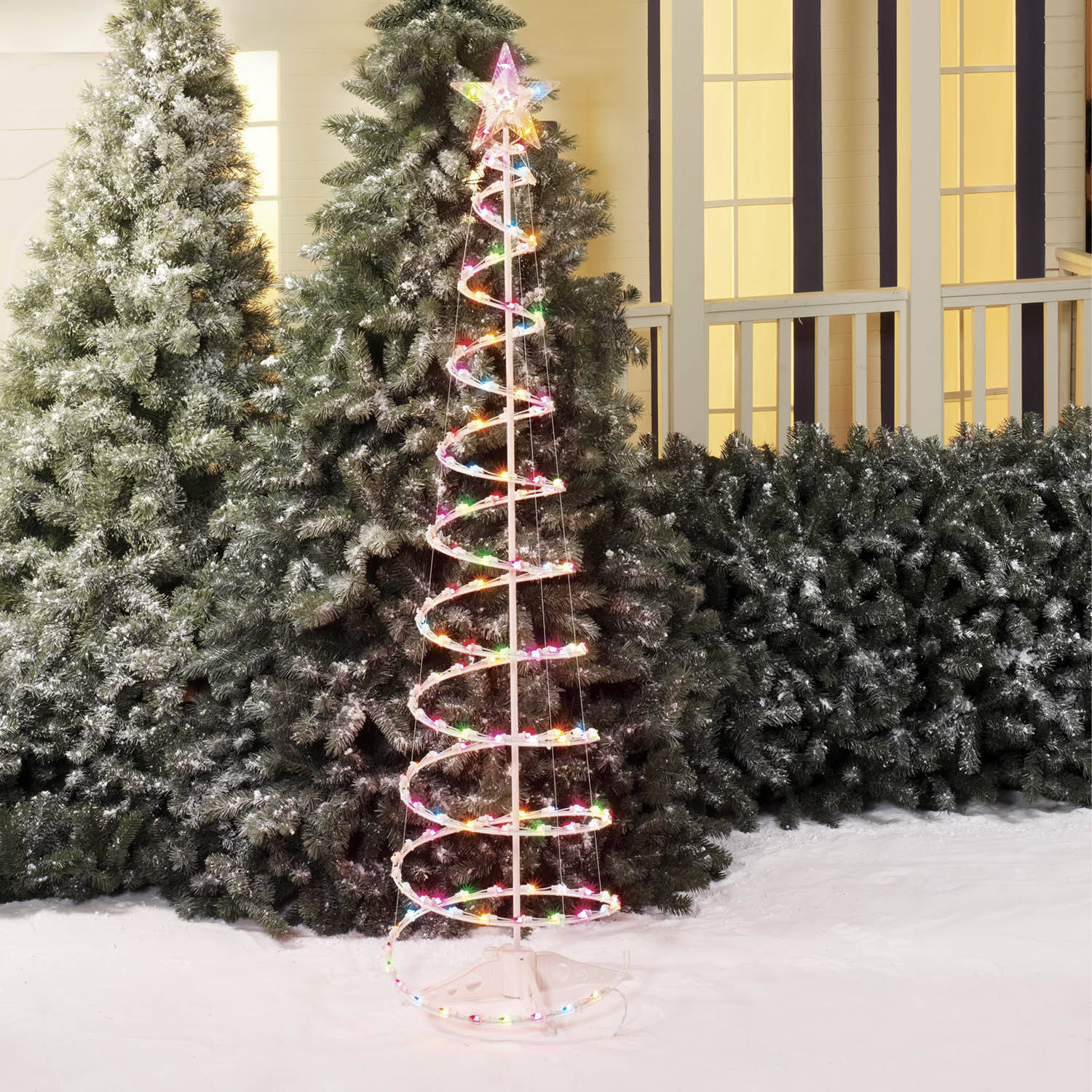 holiday time pre lit 4 christmas lamp post tree clear lights walmartcom - Walmart Outdoor Christmas Decorations