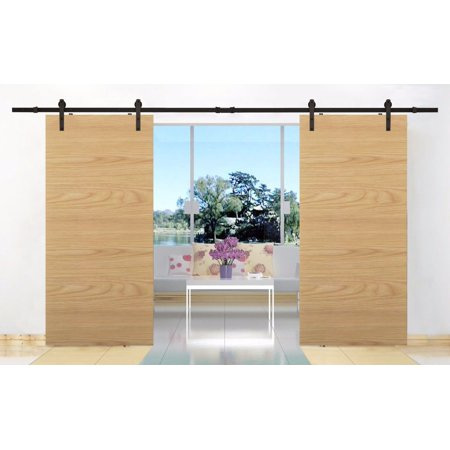 Tms 12ft Country Style Double Sliding Barn Door Track Hardware Kit