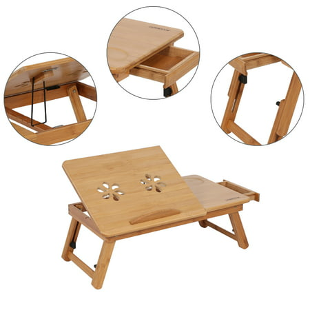 HURRISE Adjustable Bamboo Rack Shelf Dormitory Bed Lap Desk Two Flowers Book Reading Tray Stand Bed Reading Tray