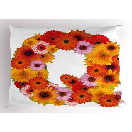 Letter Q Pillow Sham Floral Capital Q Ornamental Spring Florets Romantic Inspirational Initials Print  Decorative Standard Size Printed Pillowcase  26 X 20 Inches  Multicolor  By Ambesonne