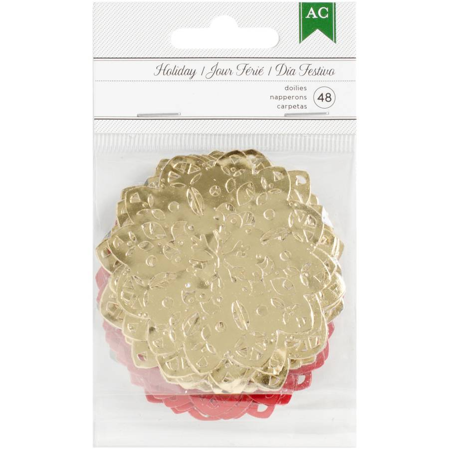 Holiday Mini Foil Doilies, 48pk, Gold