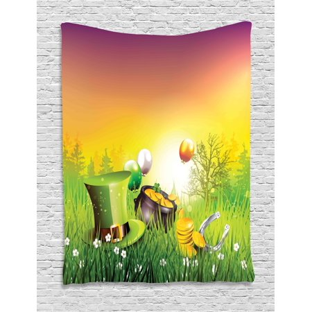 St. Patrick's Day Tapestry, Magical Scene Party Celebration Meadow Balloons Hat And Gold, Wall Hanging for Bedroom Living Room Dorm Decor, 40W X 60L Inches, Green Purple and Yellow, by Ambesonne