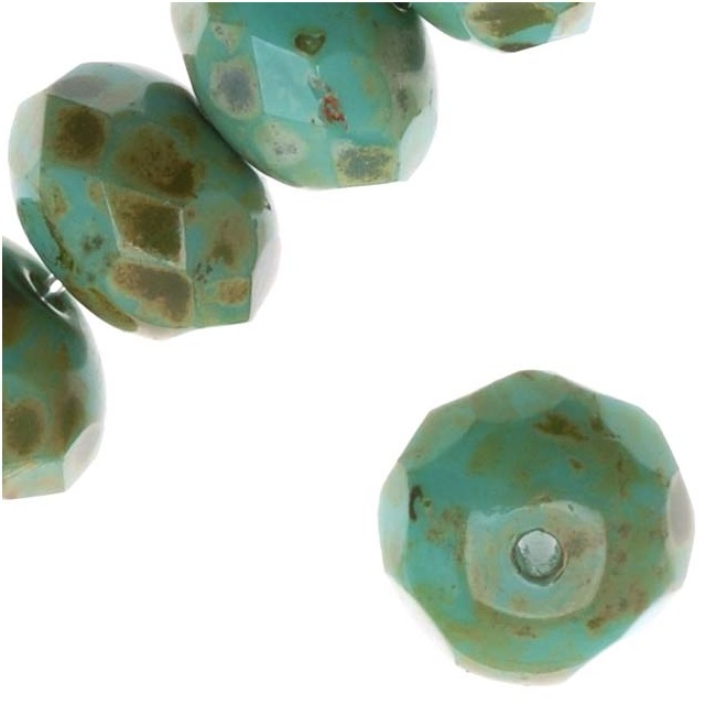 Czech Fire Polished Glass - Rondelles 8.5x5.5mm 'Turquoise/Full Coat Picasso' /12