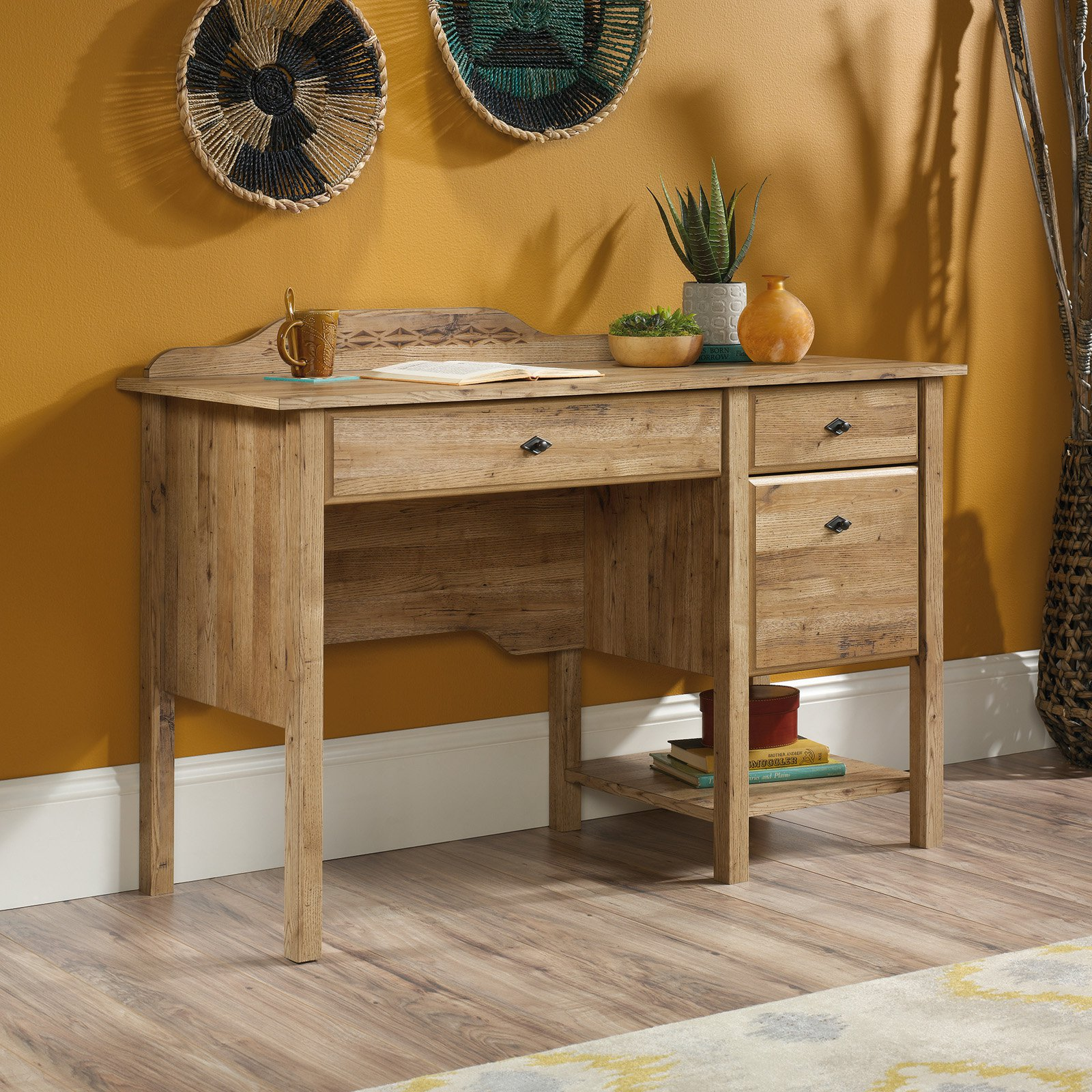 Sauder Viabella Desk, Antigua Chestnut Finish
