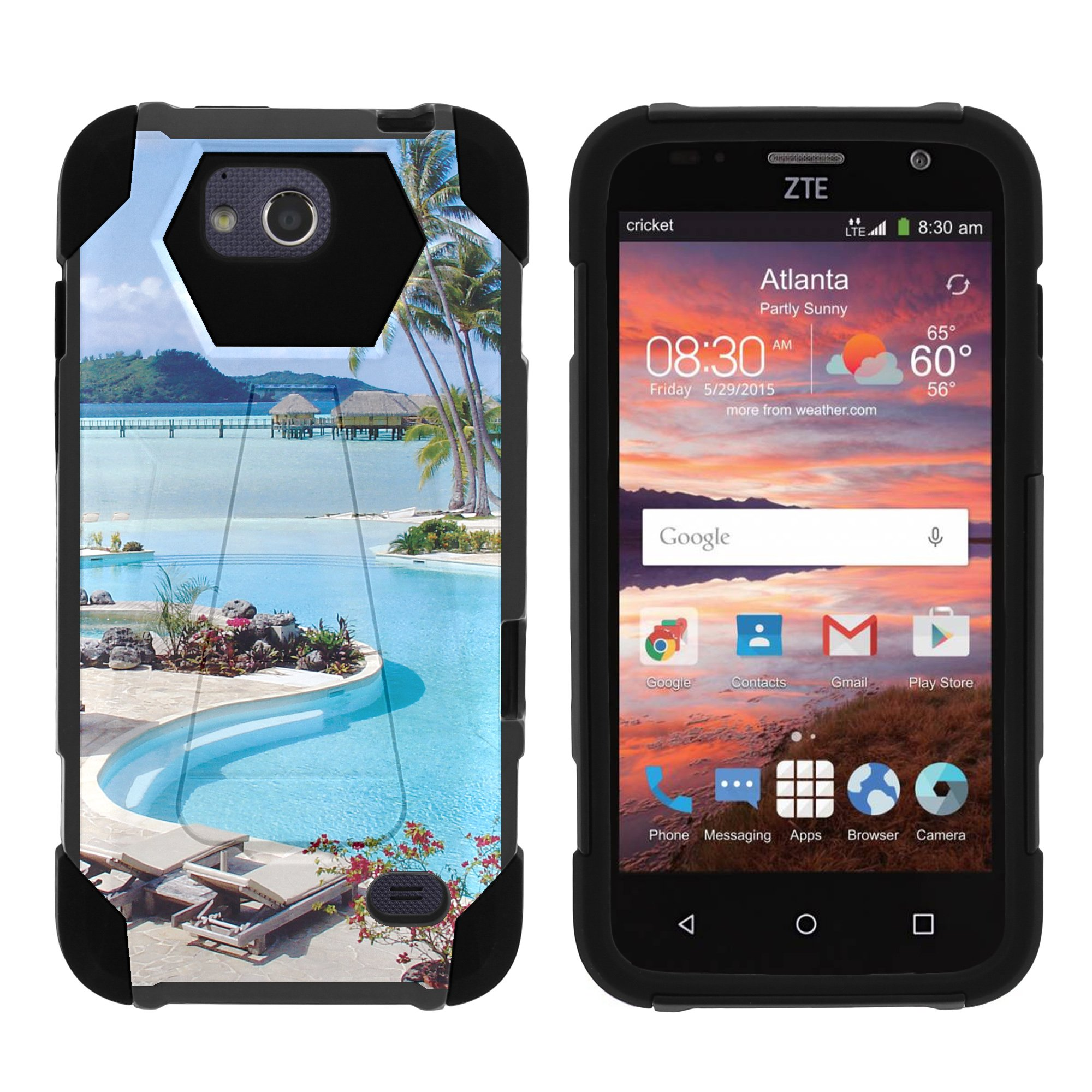 TurtleArmor ® | For ZTE Majesty Pro [Dynamic Shell] Dual Layer Hybrid Silicone Hard Shell Kickstand Case - Swimming Pool