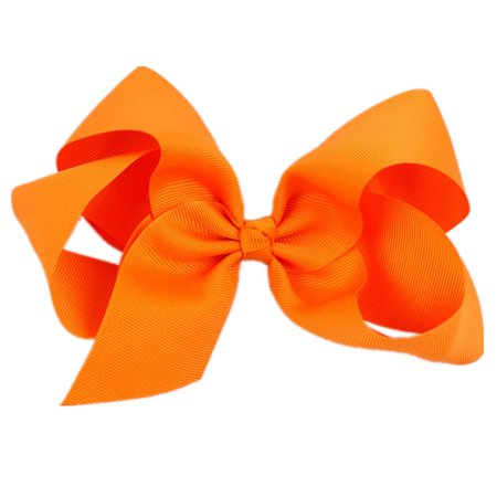 Tuscom Big Hair Bow Boutique Grosgrain Ribbon Hairpins Hairpins Headwear For Women Girl - Neon Pink Hair Bow