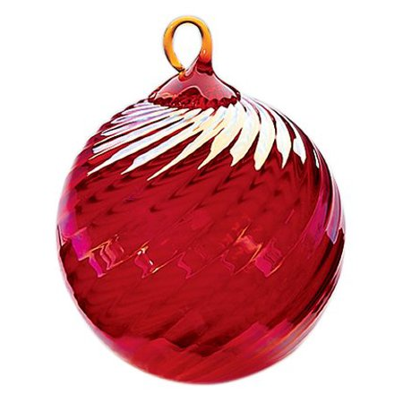 Iridescent Glass Eye Studio Hand Blown Ball Ornament, Ruby
