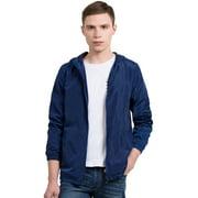 Men's Long Sleeve Zipper Front Windbreaker Hoodie Full Lining Jacket