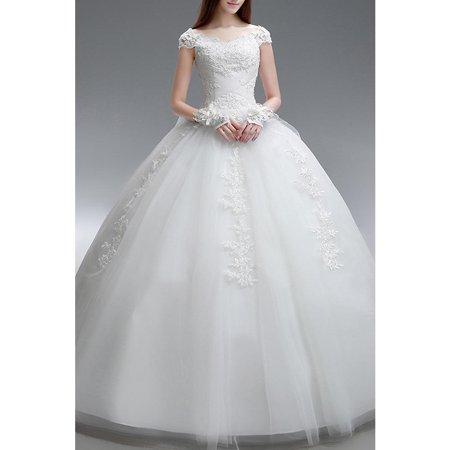 bb516890f5e5 Unomatch - Women Boat Neck Lace Decorated Wedding Dress - Walmart.com
