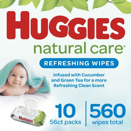 Huggies Natural Care Refreshing Baby Wipes, 10 Flip-Top Packs (560 Wipes Total)