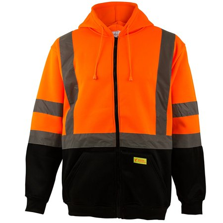 - Men's ANSI Class 3 High Visibility Sweatshirt, Full Zip Hooded, Lightweight, Black Bottom - Orange / Extra Large