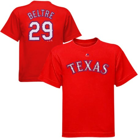 Youth Majestic Adrian Beltre Red Texas Rangers Player Name & Number T-Shirt