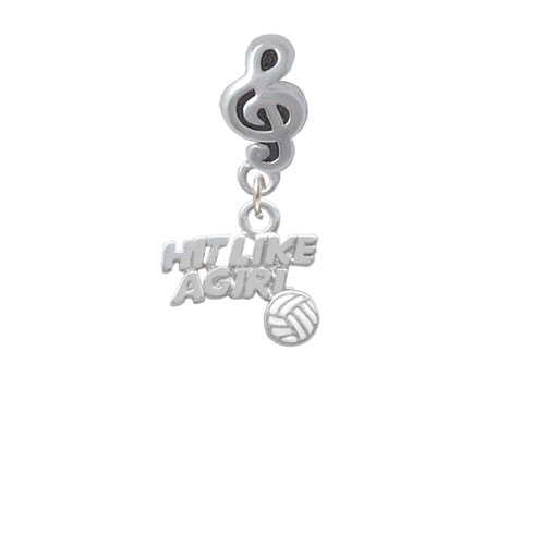 Hit Like a Girl with Enamel Volleyball - Clef Note Charm Bead